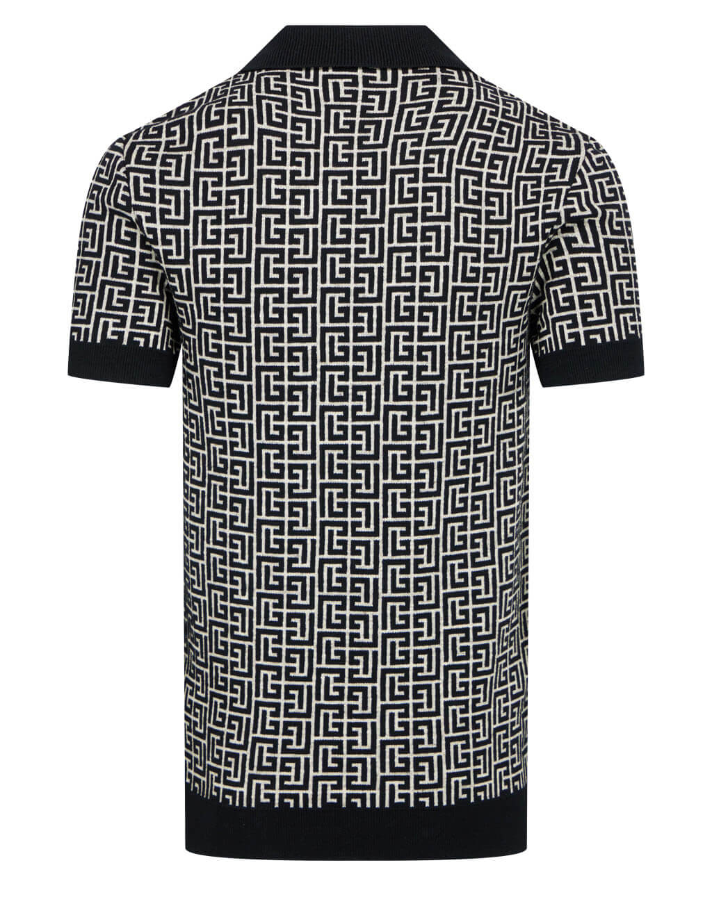 Balmain Men's Black Bicolour Monogram Polo Shirt VH0GB020K020GFE