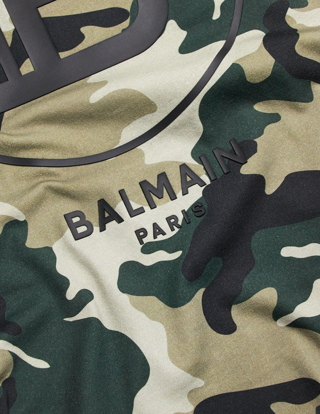 Balmain Men's Khaki Camo Logo Cotton T-Shirt TH11601I2667UA