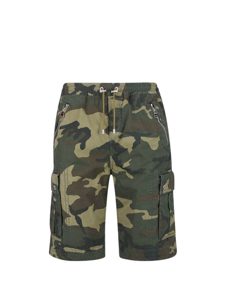 Balmain Men's Giulio Fashion Khaki Cargo Shorts TH15586Z0847UA