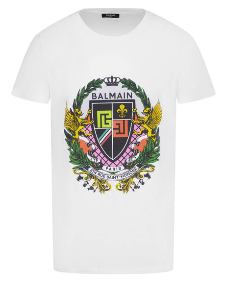 Men's Balmain Crest Printed T-Shirt in White - VH0EF000G055GCS