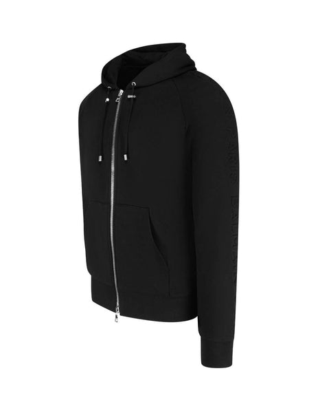 Balmain Men's Giulio Fashion Black Embossed Balmain Zipped Hoodie UH13122I3390PA