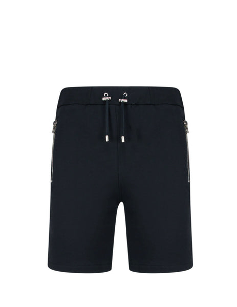 Balmain Men's Giulio Fashion Black Embossed Bermudas TH15634I2400PA