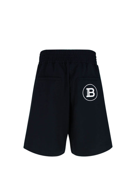 Balmain Men's Giulio Fashion Black Flock Shorts TH05751Z6000PA
