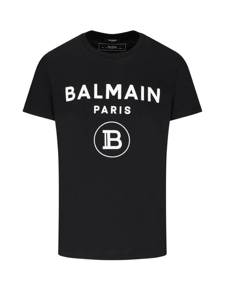 Balmain Men's Black Logo Cotton T-Shirt TH11601I2450PA