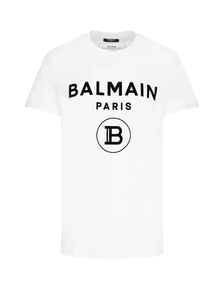 Balmain Men's White Logo Cotton T-Shirt TH11601I2450FA