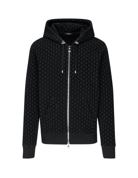 Balmain Men's Black Monogram Flock Hoodie