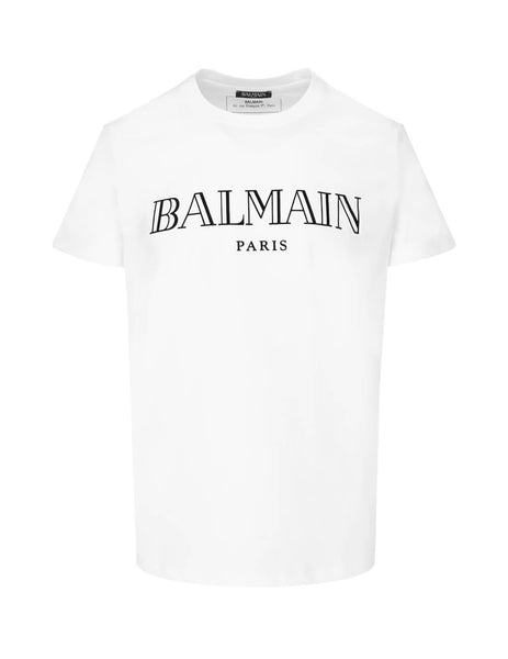 Balmain Men's Giulio Fashion White Paris Logo T-Shirt SH11601I3120FA