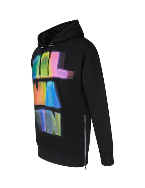 Balmain Men's Black Printed Hoodie UH13415I311AAA
