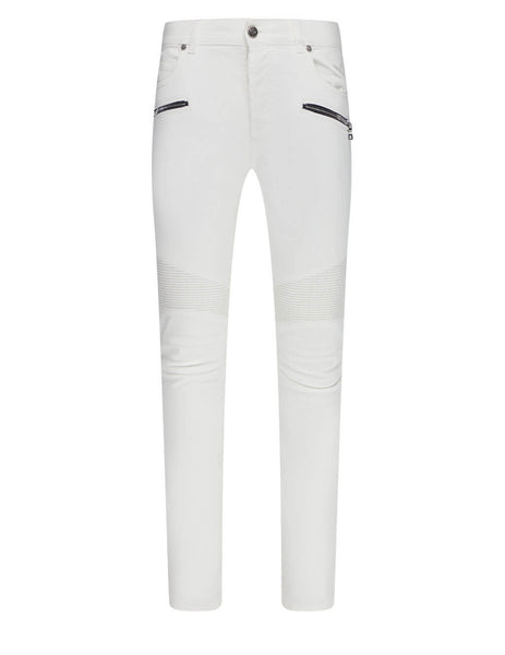 Men's Balmain Ribbed Slim Biker Jeans in White - VH0MG005032D0FA