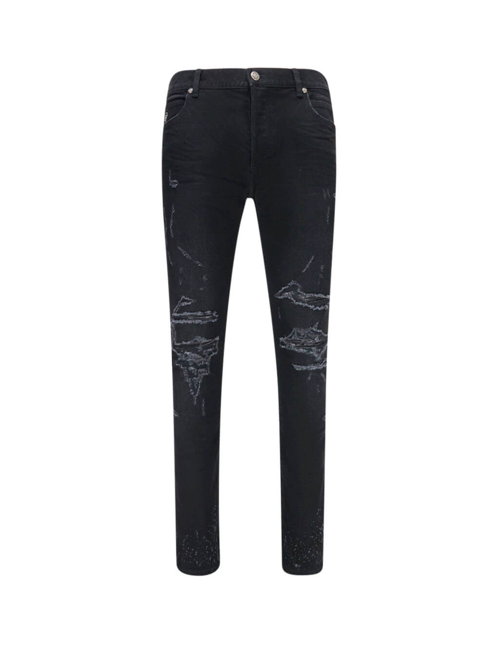Balmain Men's Giulio Fashion Black Slim Destroyed Jeans TH15230Z0390PA