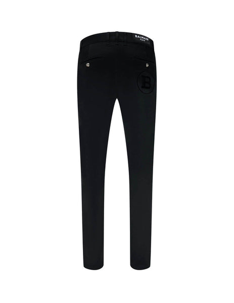 Balmain Men's Giulio Fashion Black Slim Fit Monogram Chinos TH15738Z0230PA