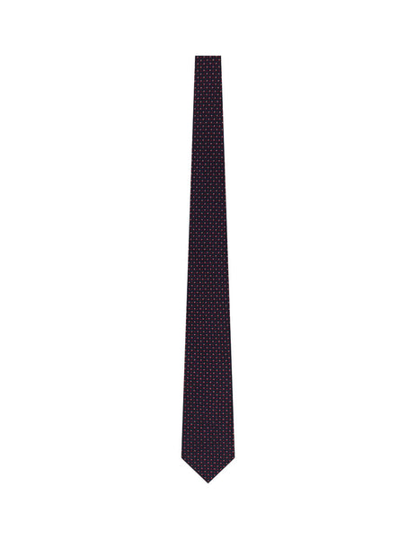 BOSS Men's Flower and Dot Pattern Silk Tie in Navy Blue and Red 50429498 402