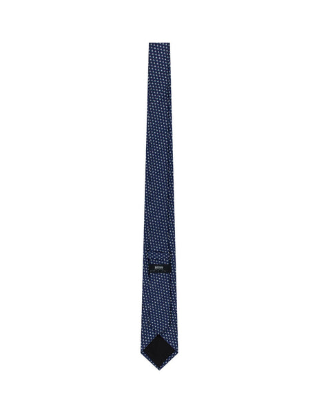 BOSS Men's Geometric Pattern Silk Tie in Open Blue 50429487 473