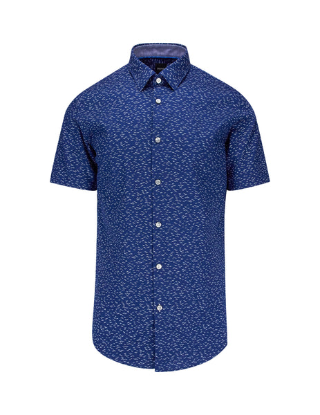 BOSS Men's Giulio Fashion Dark Blue Short Sleeve Shirt 50410596402