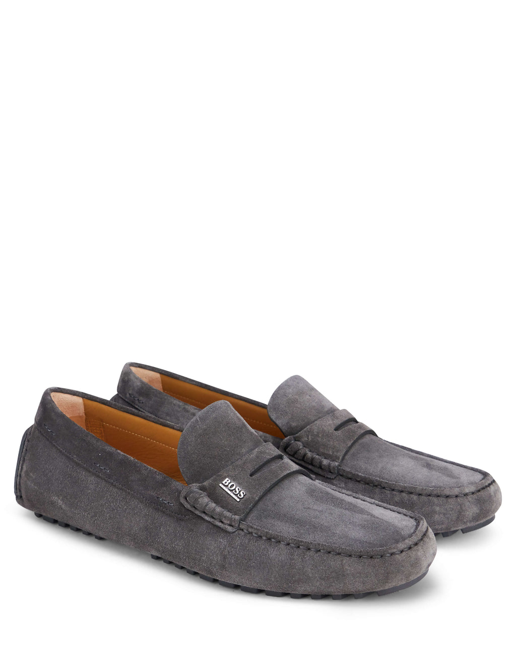 BOSS Men's Giulio Fashion Grey Suede Driver Moccasin Loafers 50403068022