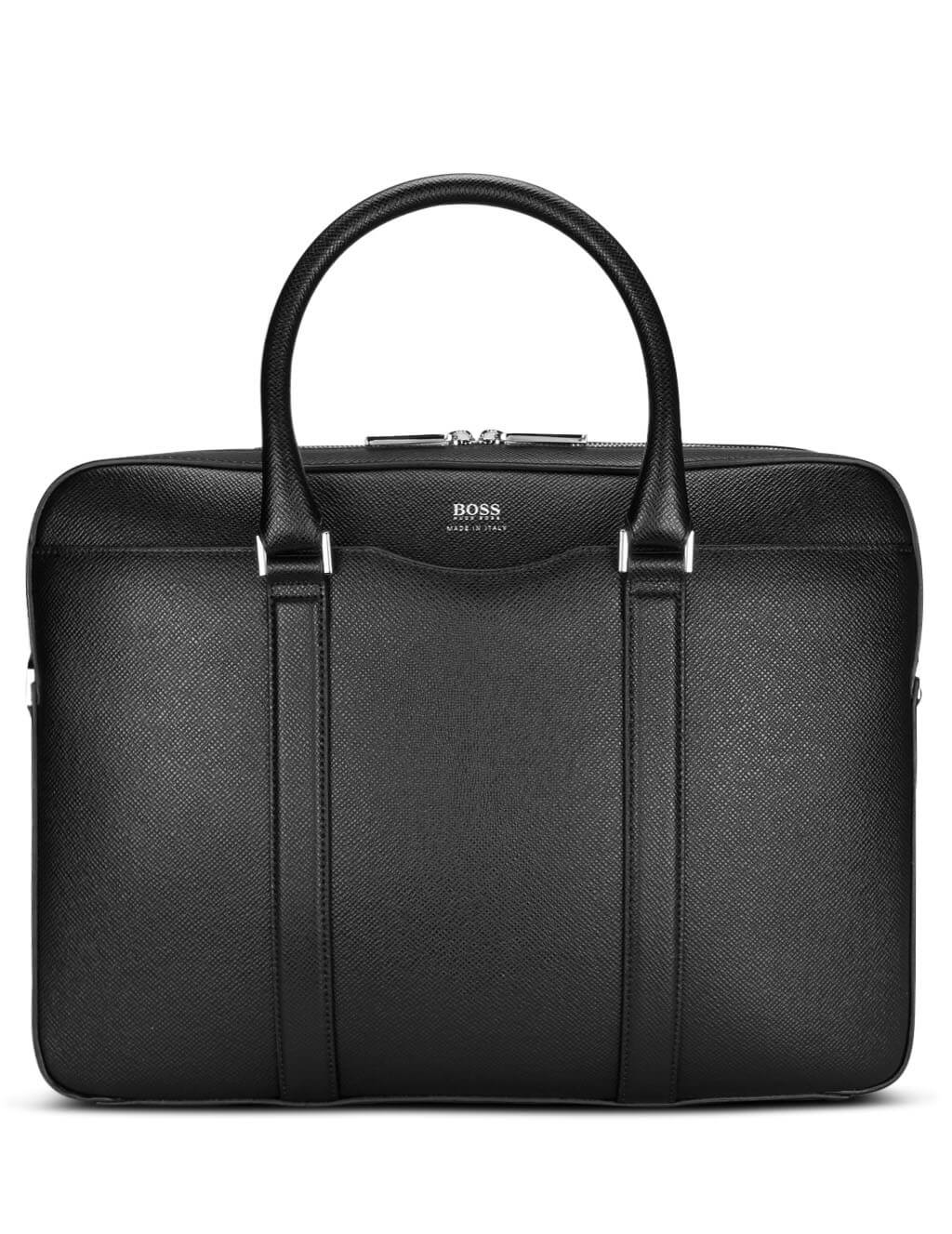 BOSS Men's Black Leather Signature Collection Bag 50390902 001