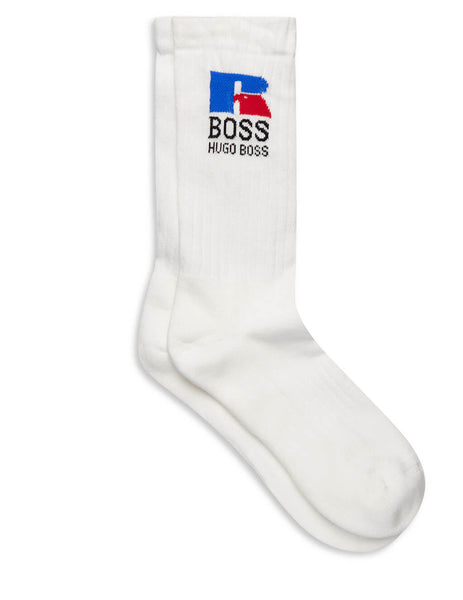 BOSS x Russell Athletic White Jacquard Logo Socks 50456959 100