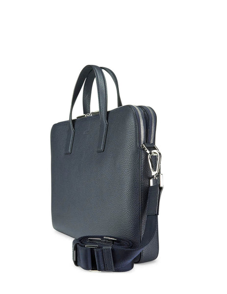 BOSS Hugo Boss Men's Navy Double Document Case in Leather 5039734410