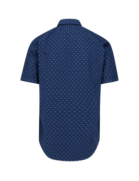 BOSS Men's Dark Blue Ronn_2 Short Sleeved Cotton Shirt 50433622404