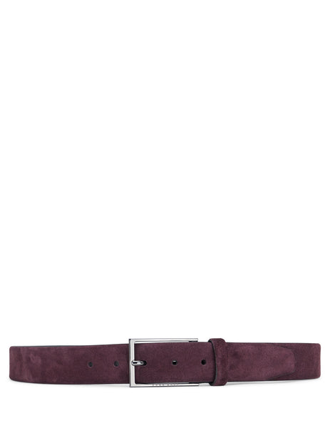 BOSS Men's Giulio Fashion Dark Red Soft Suede Belt 50375225604