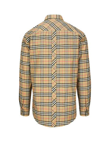 Burberry Men's Giulio Fashion Brown TB Check Shirt 8017560A7028