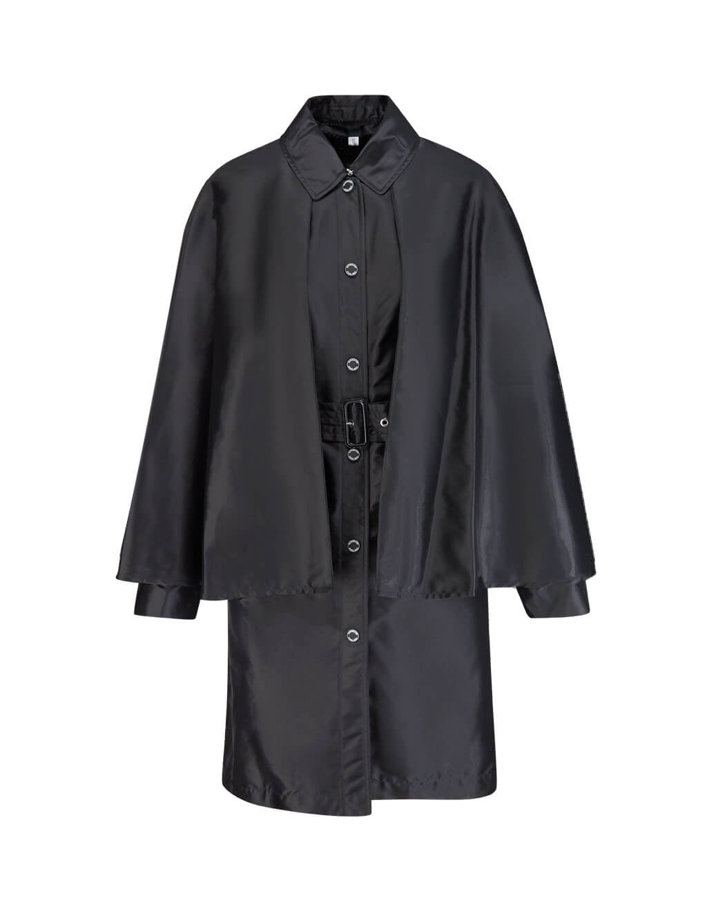 Burberry Women's Giulio Fashion Black Cape Detail Belted Coat 8013657A1189