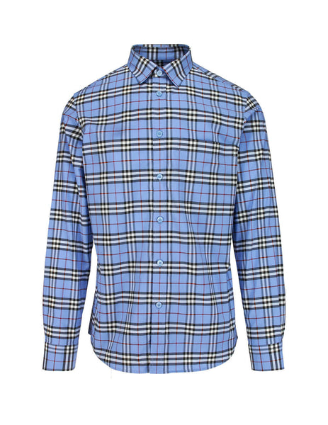 Burberry Men's Giulio Fashion Blue Checked Casual Shirt 8018638A6014