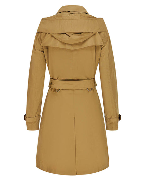 Women's Burberry Detachable Hood Kensington Trench Coat in Camel - 8033521 A1420