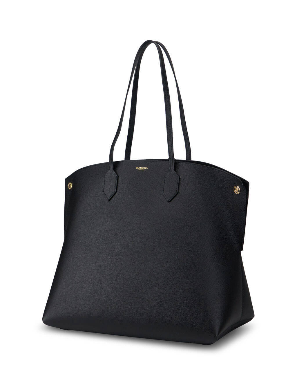 womens burberry large leather society tote bag in black 8032163-A1189