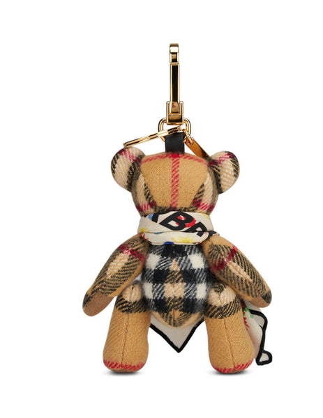 Burberry Women's Antique Yellow Scarf Thomas Bear Charm 8023484 A2442
