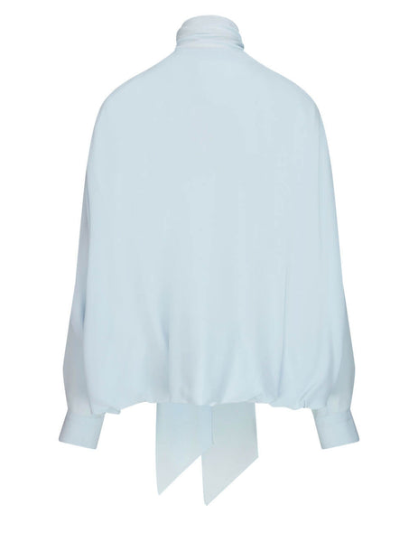 Women's Burberry Cape Effect Shirt in Cool Blue - 4567817 A9117