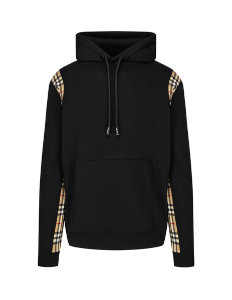 Burberry Men's Black Check Insert Hoodie 8026272 A1189