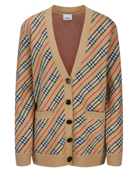 Burberry Women's Camel Check Striped Cardigan 8033236 A1420