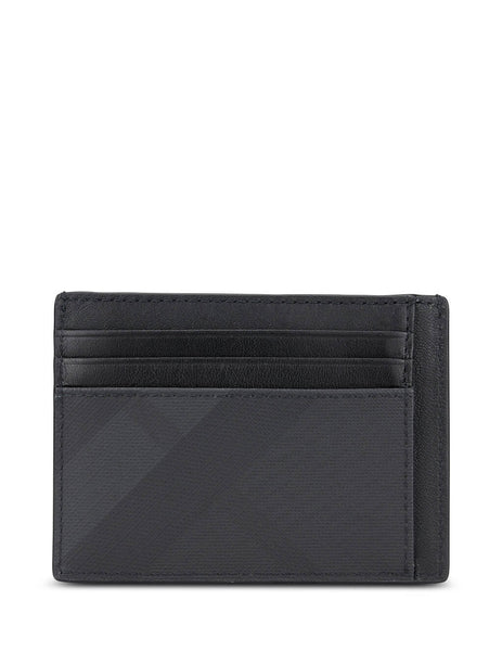 mens burberry coated london wallet in dark charcoal black 8014488A5656