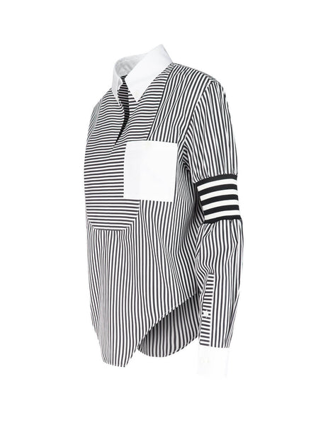 Burberry Women's Giulio Fashion Black & White Cut-Out Striped Shirt 4564330 A1074