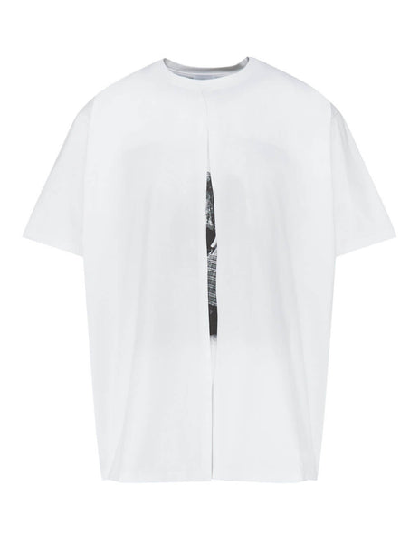 Men's White Burberry Fold-Over T-Shirt 4563783 A1462