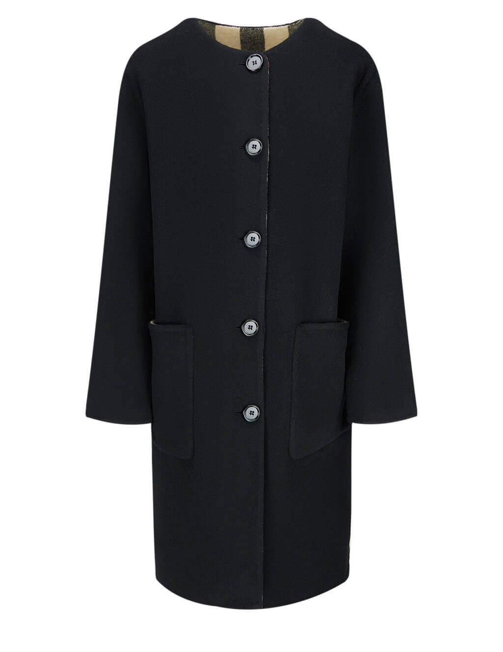 Burberry Women's Black IP Check Reversible Coat 8034516 A1003