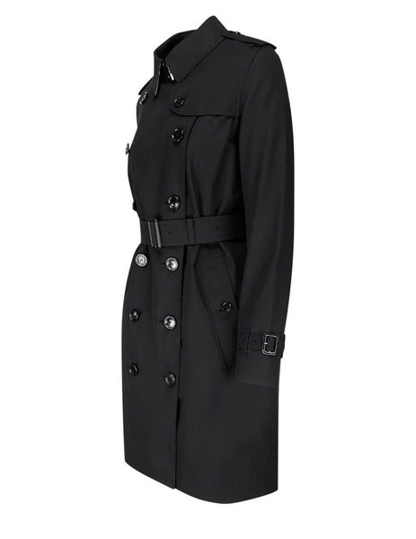 Women's Black Burberry Kensington Trench Coat 8017154 A1189