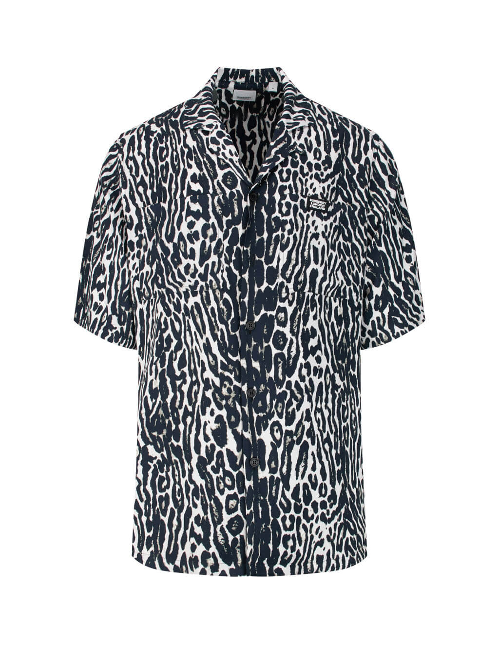 Burberry Men's Black/White Leopard Twill Shirt 8023943 A1879