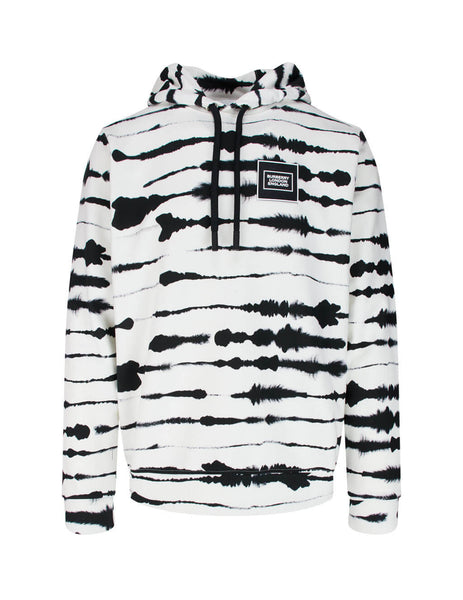 Men's Burberry Logo Applique Watercolour Hoodie in Monochrome White and Black 4563797 A7820
