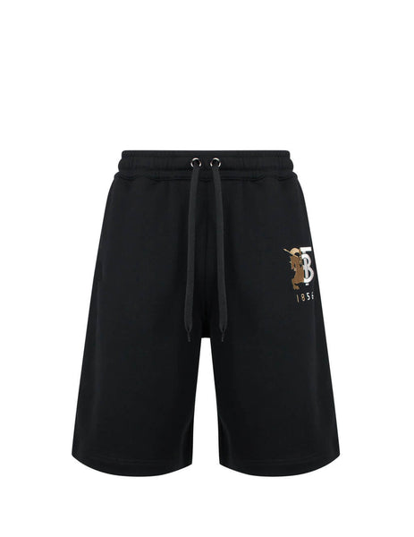 Burberry Men's Black Logo Graphic Cotton Shorts 8025681 A1189