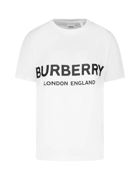 Burberry Women's White Logo Print T-Shirt 8008894 A1464