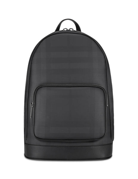 mens burberry london check backpack in dark charcoal black 8013988A1483