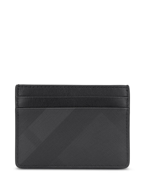mens burberry london check card case in dark charcoal black 8014485A5656