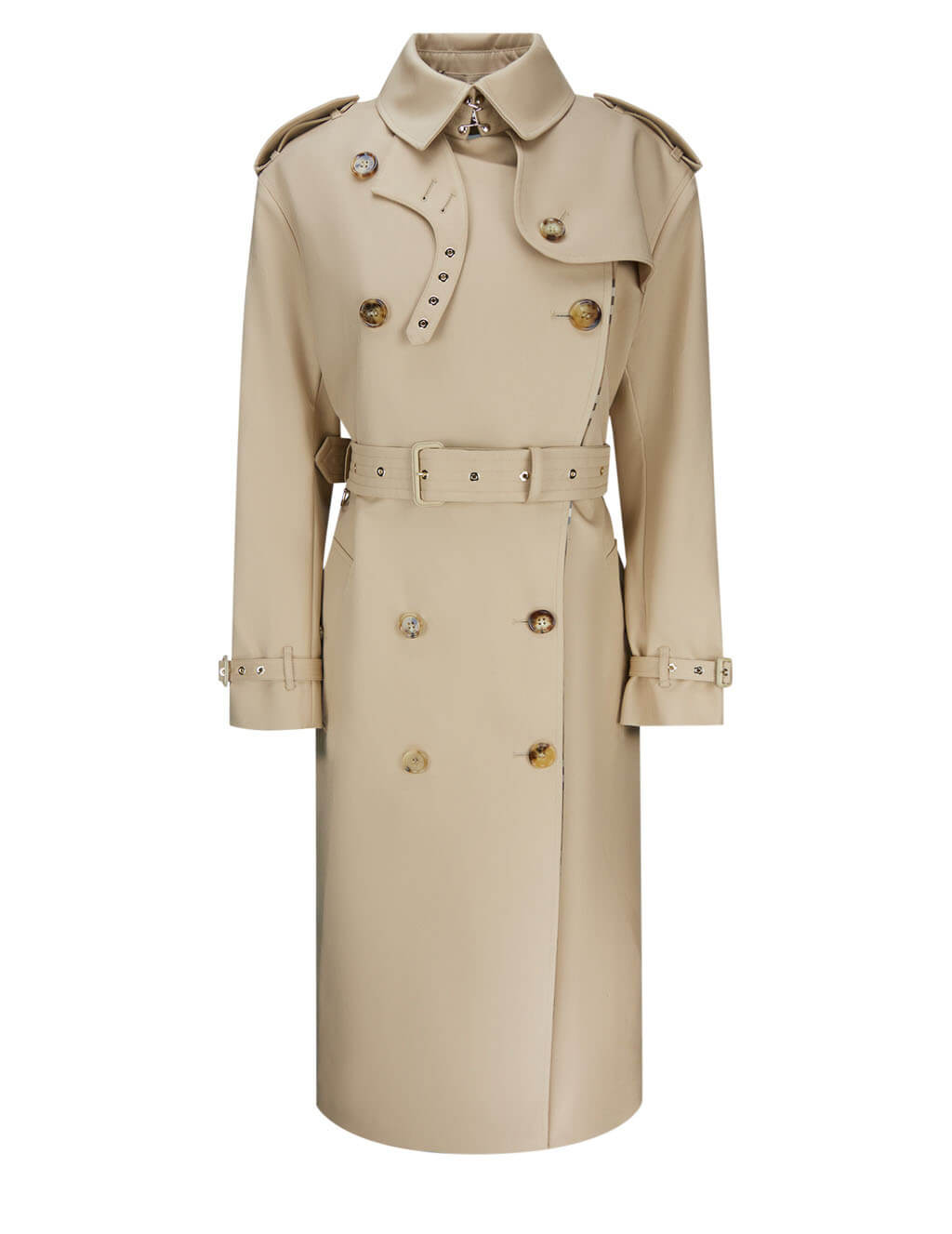 Burberry Women's Loop-Back Check Panel Trench Coat 4566065 A8740