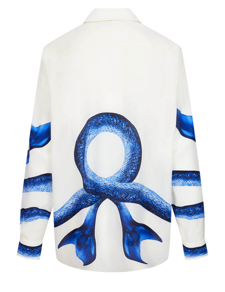 Women's Burberry Mermaid Tail Print Shirt in White/Vivid Cobalt - 4567821 A9161