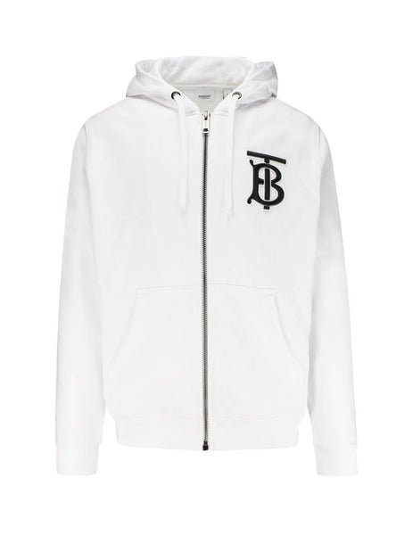 Burberry Men's Giulio Fashion White Monogram Motif Cotton Hooded Top 8017260A1464