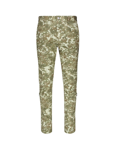 Burberry Green Cotton Monogram Stripe Trousers 8016795 A6850