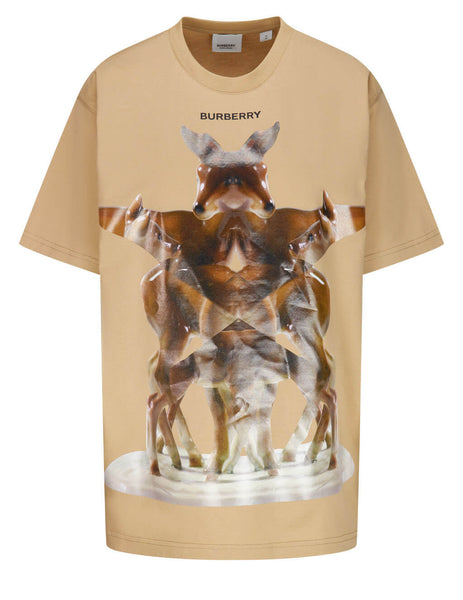Women's Burberry Multi Deer Print T-Shirt in Soft Fawn - 8037300A7405