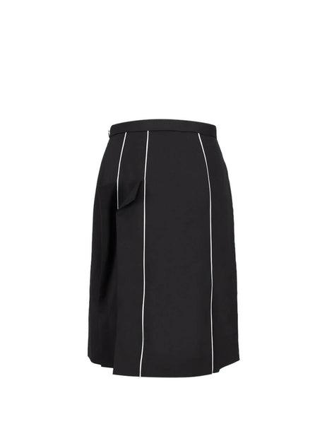 Burberry Women's Giulio Fashion Black Piping Crepe Skirt 4561701A1189